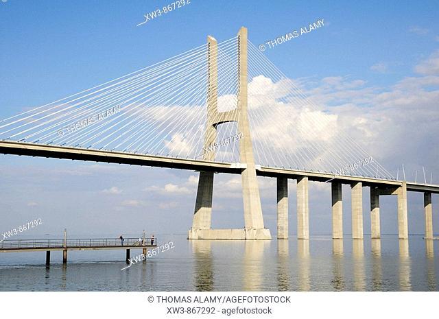 Portugal, Lisbon  Vasco da Gama bridge over Tago river