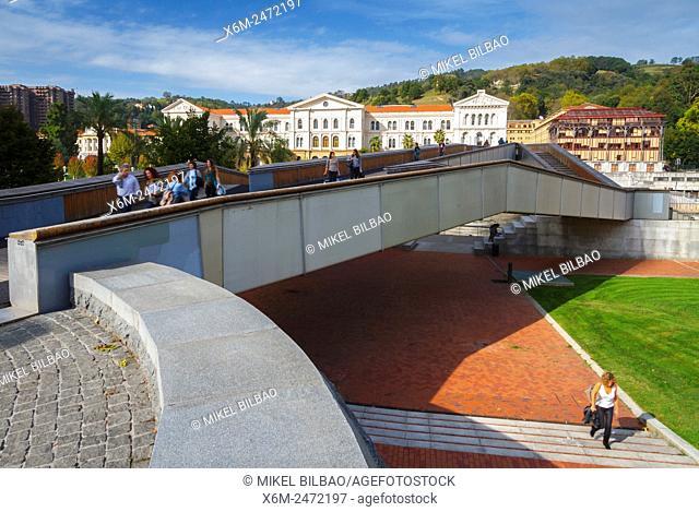 Pedro Arrupe footbridge and University of Deusto. Bilbao, Biscay, Spain, Europe