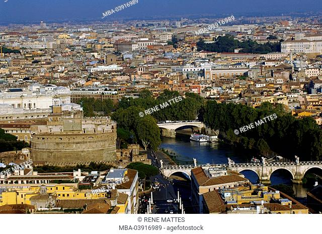 Italy, Rome, city-overview, Tiber, angel-castle