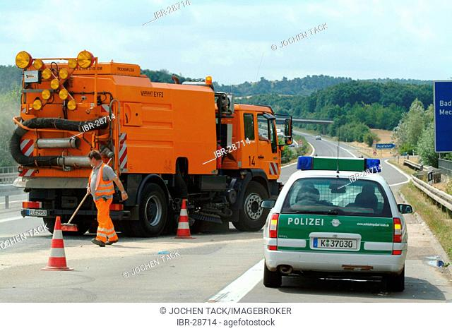 DEU, Germany, NRW: Heavy accident on the Autobahn, motorway A1, near Bad Muenstereifel. A Mercedes Benz car crashed with a app