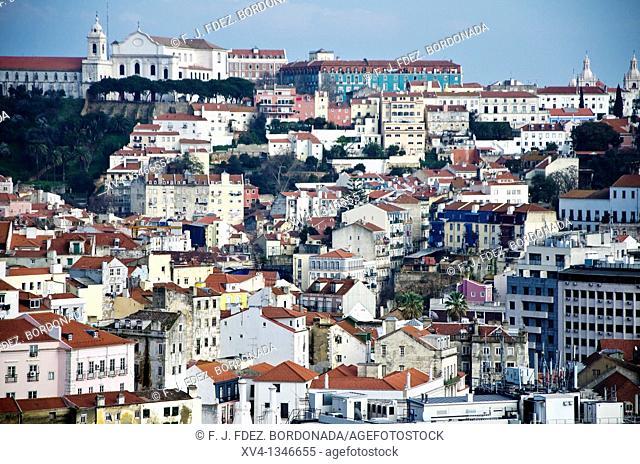 Alfama Aereal views from San Pedro de Alcantara Miradouro  Bairro Alto, Lisbon, Portugal