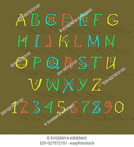 Colorful Alphabet. Artistic font. Bright letters and numbers with geometric decor. Vector Illustration
