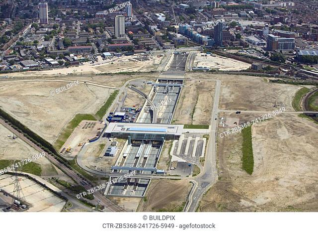 Aerial view of Stratford International DLR rail station under construction at the heart of the 2012 Olympic Park, Stratford, London, UK