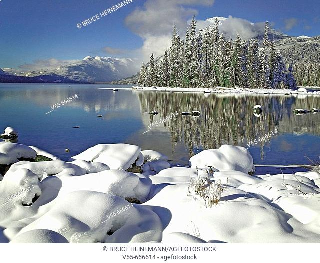 Snow on rocks on the shore of Lake Wenatchee, Lake Wenatchee State Park, Washington State, USA