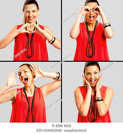 Multiple portraits of the same woman in a good mood making crazy things