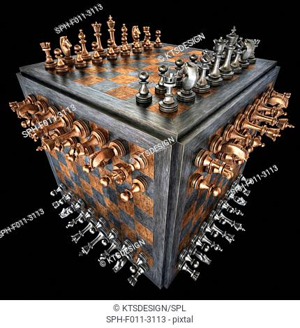 Chess board and pieces in a cube shape, computer illustration