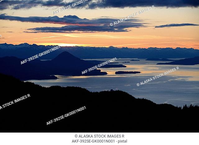 Sunset looking north from Eagle Peak Admiralty Island Tongass National Forest southeast Alaska summer