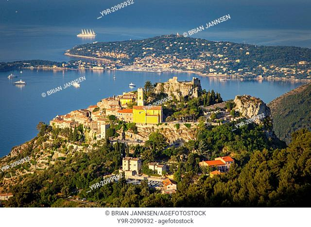Early morning view over hilltop town of Eze and the Cote d'Azur, Provence, France