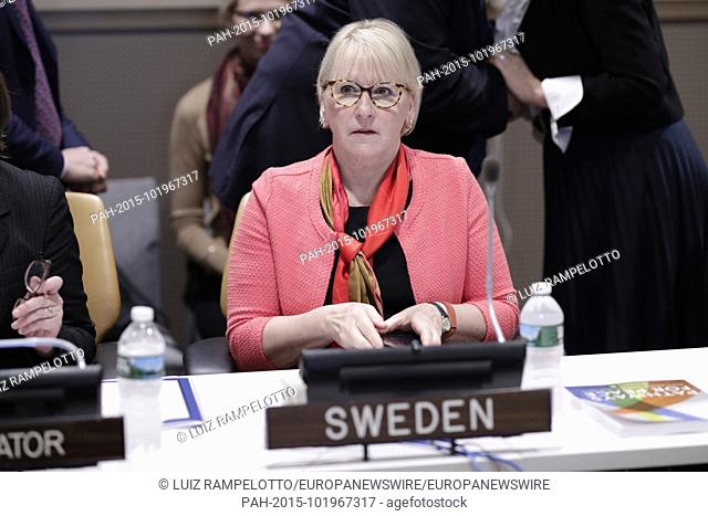 United Nations, New York, USA, April 24, 2018 - Swedish Foreign Minister Margot Wallstrom During the Peace Building and Sustaining Peace Meetings today at the...