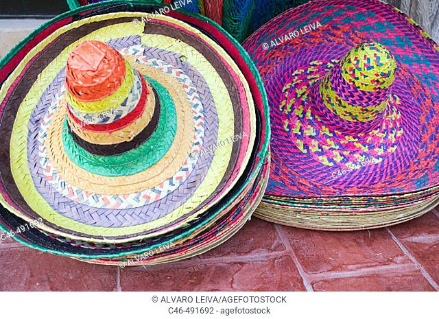 Mexican hats at Mexican market, Cancun. Yucatan Peninsula, Mexico