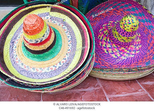 Mexican hats at Mexican market, Cancun. Yucatan Peninsula, Mexico