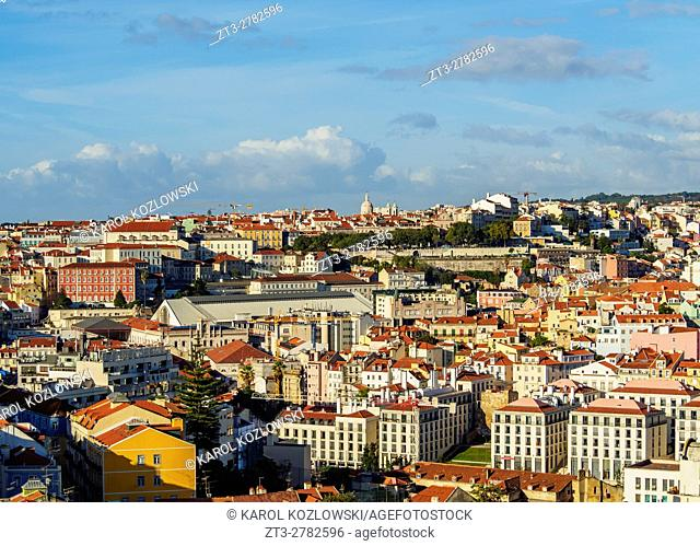 Portugal, Lisbon, Cityscape viewed from the Miradouro da Graca