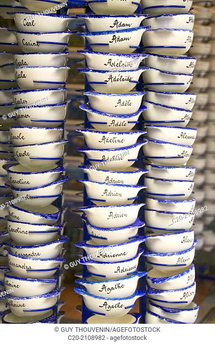 Typical cider bowls with printed names, for sale in a tourist shop,Dinard, Brittany, Ille et Villaine 35, France