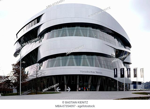 Forecourt and the entrance of the modern Mercedes Benz Museum in Stuttgart