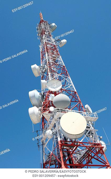 bottom view of a telecommunications tower with a clear blue sky, La Muela, Saragosa, Aragon, Spain