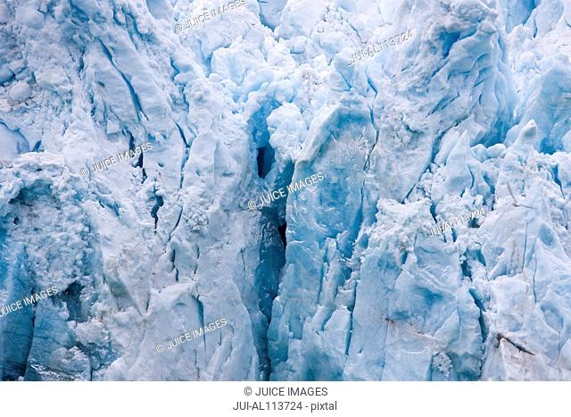 Detail of Monacobreen glacier, Liefdefjorden, Haakon VII Land, Spitsbergen, Svalbard, Norway, Europe
