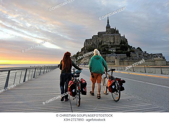 tourists on the bridge leading to Mont-Saint-Michel, Manche department, Normandy region, France, Europe