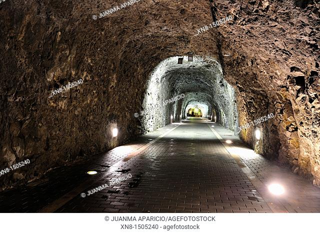 inside the tunnel of the watchtower in Laredo, Cantabria, Spain
