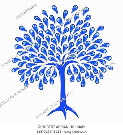 Editable vector illustration of a tree with raindrop leaves
