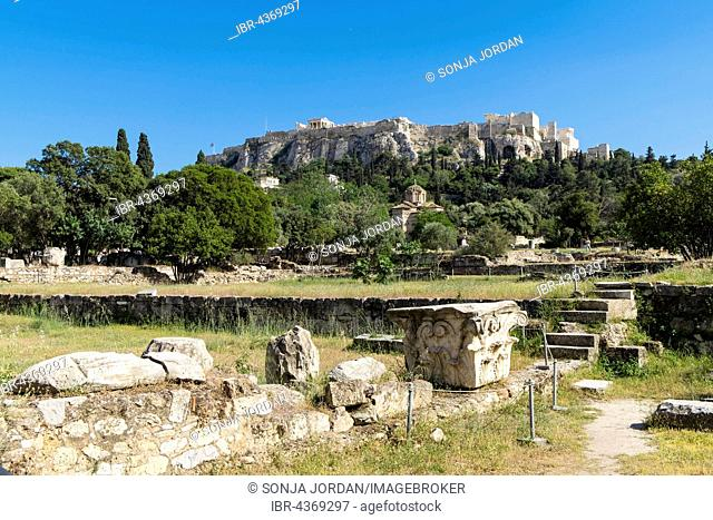 Ancient Agora, Athens, behind Acropolis, Athens, Greece