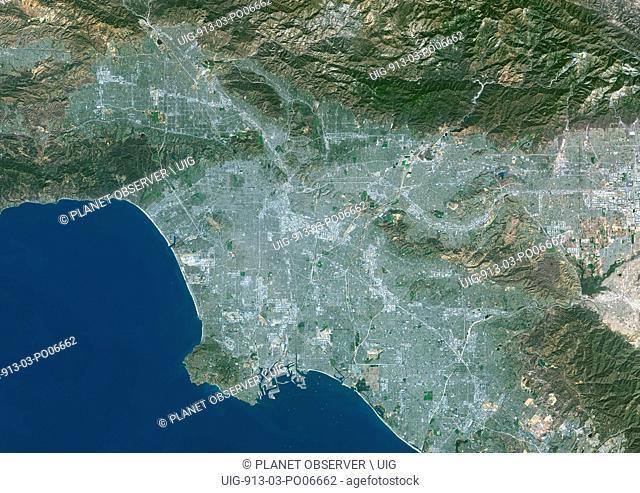 Colour satellite image of Los Angeles, California, USA. Image taken on October 23, 2014 with Landsat 8 data