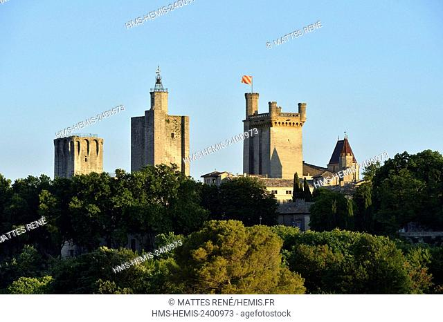France, Gard, Pays d'Uzege, Uzes, the Ducal castle known as the Duche and St Theodorit Cathedral with the Fenestrelle tower