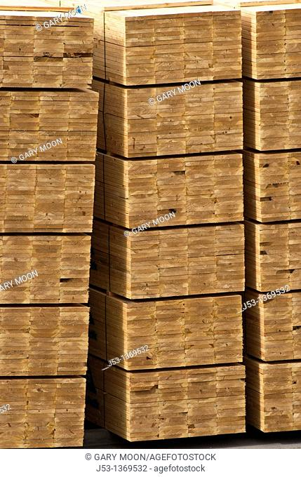 Lumber pile at sawmill, Coos County, Oregon
