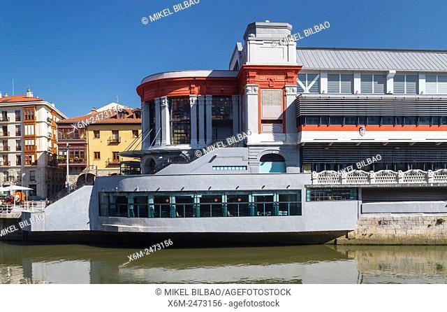 La Ribera Market and Nervion river. Bilbao. Biscay, Spain, Europe