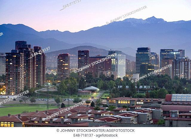Apoquindo skyline Andes. Santiago. Chile