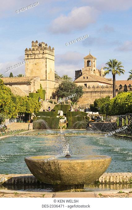 Alcazar de los Reyes Cristianos, palace-fortress of the Christian Kings, seen from gardens; Cordoba, Cordoba Province, Andalusia, Spain