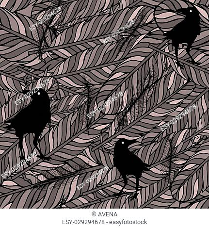 Seamless pattern with feathers and ravens outline. Style Elements. Vector Drawing