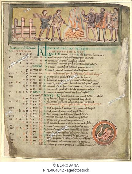 Warming and smithying Whole folio Calendar page for November. Workers around a fire, one carrying logs another holding tongs making nails on the fire and three...