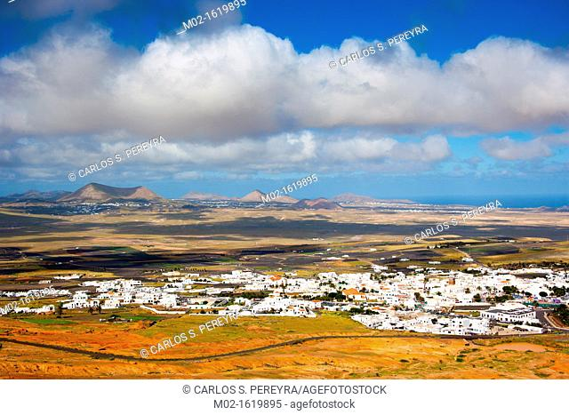 View of Teguise from Santa Bárbara of Guanapay Castle at Teguise, Lanzarote  Canary Islands, Spain