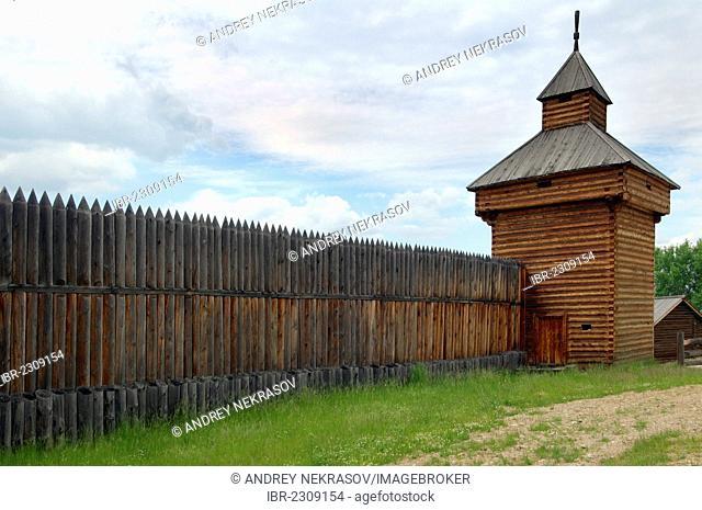 Spassky tower of the Ylym jail, 1667, Irkutsk Architectural and Ethnographic Museum Taltsy, settlement of Talzy, Irkutsk region, Baikal, Siberia