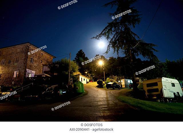 Campsite At Night In Mutriku, Basque Country, Spain