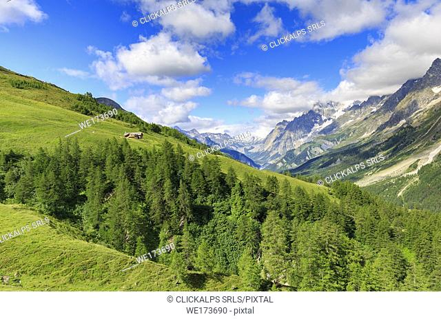 Bonatti hut, in a panoramic position on the Val Ferret. Bonatti Hut, Ferret Valley, Courmayeur, Aosta Valley, Italy, Europe