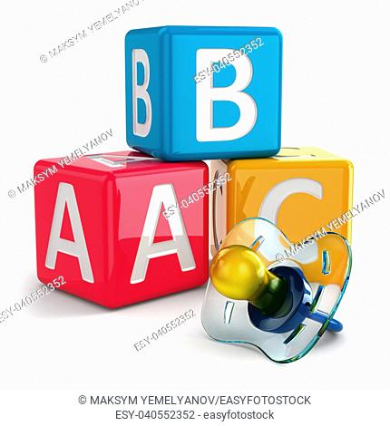 Dummy or pacifier and buzzword blocks. 3d