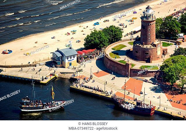Ko?obrzeg, Kolberg, Lighthouse with Bastion, Baltic Sea beach, Ko?obrzeg, Baltic Sea coast, Województwo zachodniopomorskie, Poland