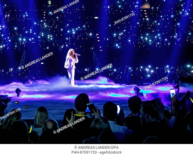 """The singer Andrea Berg during the TV Show """"""""Hit Champions - Great party of the best"""""""" at the Velodrom in Berlin, Germany, 7 January 2017"""
