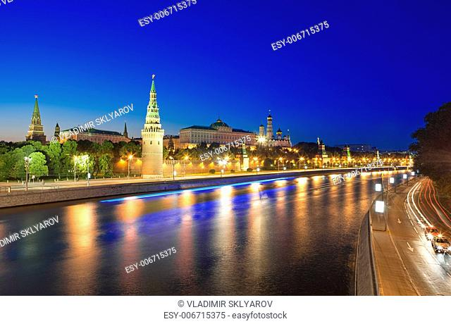 View of the Moscow Kremlin and Moskva river at night. Shot from the Big Stone Bridge. Moscow, Russia