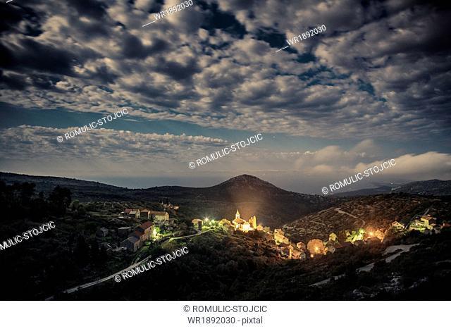Humac village, illuminated at night, Hvar island, Dalmatia, Croatia