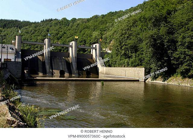 BELGIUM ARDENNEDAM & NISRAMONTLAKEUPPER OURTHE RIVER VALLEY - ORTHOTo the east of Ortho near Nisramont the river Ourthe is dammed to form a reservoir : the...