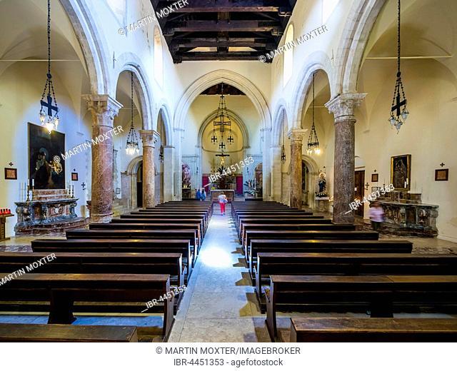 Interior of San Nicolò Cathedral, Taormina, Sicily, Italy