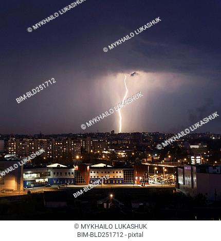 Lightning strike in city at night