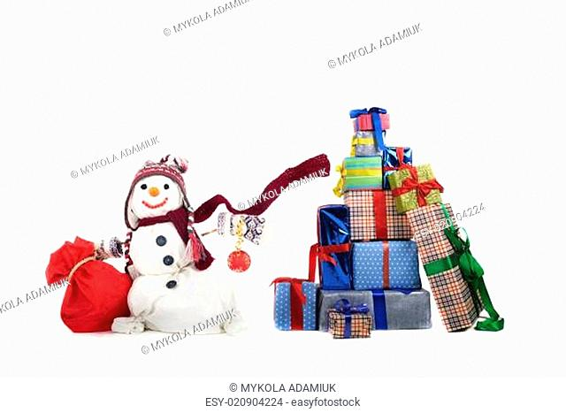 Happy snowman with gifts