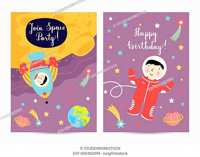 Happy birthday cartoon greeting card on space theme. Rocket with boy on moon, astronaut flying in weightlessness among stars and planets vector illustration