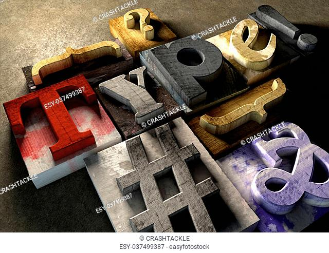 Wooden printing blocks form word 'Type'. Graphic look at type and typography by using the old wooden printing press blocks