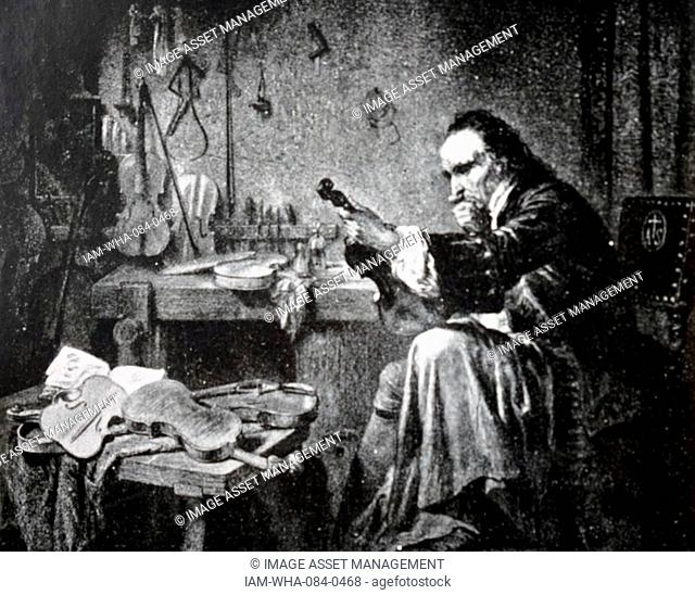 Painting depicting Antonio Stradivari (1644-1737), an Italian luthier and a crafter of stringed instruments such as violins, cellos, guitars, violas and harps