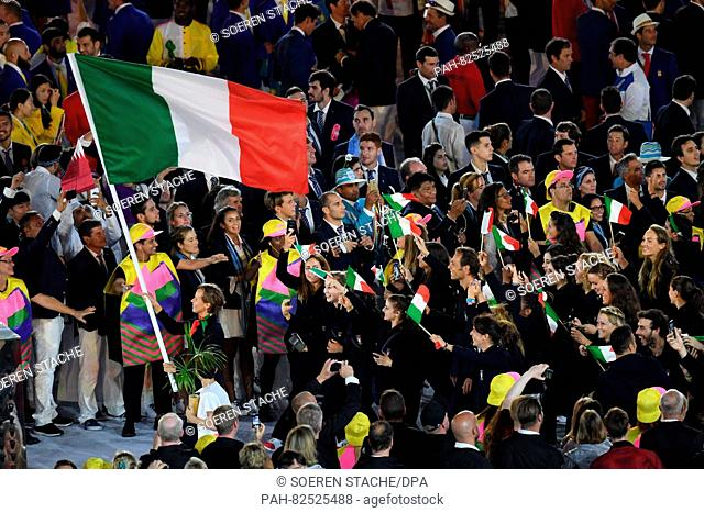 Flag bearer Federica Pellegrini of Italy and the Italian Olympic team arrive during the opening ceremony of the Rio 2016 Olympic Games at the Maracana stadium...