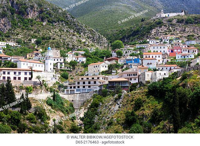 Albania, Albanian Riviera, Dhermi, elevated town view